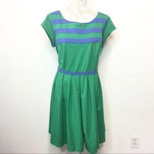 NWOT eShakti Fit & Flare Dress 2X 22W Green Blue